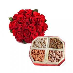 12 Red Roses And 1 Kg Dry Fruits