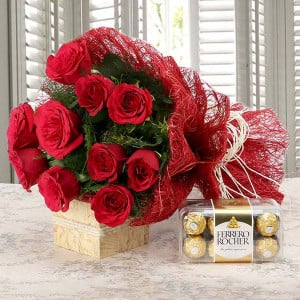 Valentine Flowers and Chocolate Online