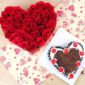 Valentine Flowers and Cake Online