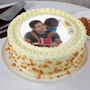 Delicious Fathers Day Butterscotch Photo Cake