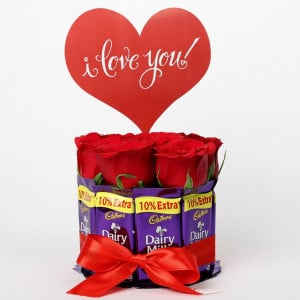 Red Roses And Dairy Milk Arrangement