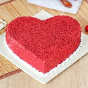 Half kg Red velvet heartshape cake