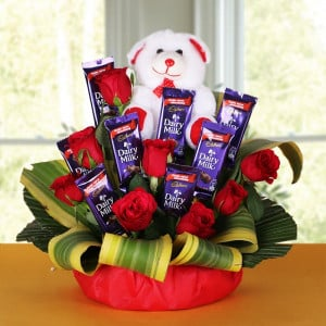 Flowers and Teddy Bear Online Delivery